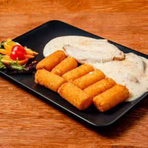 Roston sült csirkemell füstölt sajt mártással